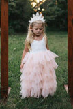 A Line Round Neck Tulle White Straps Flower Girl Dresses with Lace, Baby Dresses STC15021