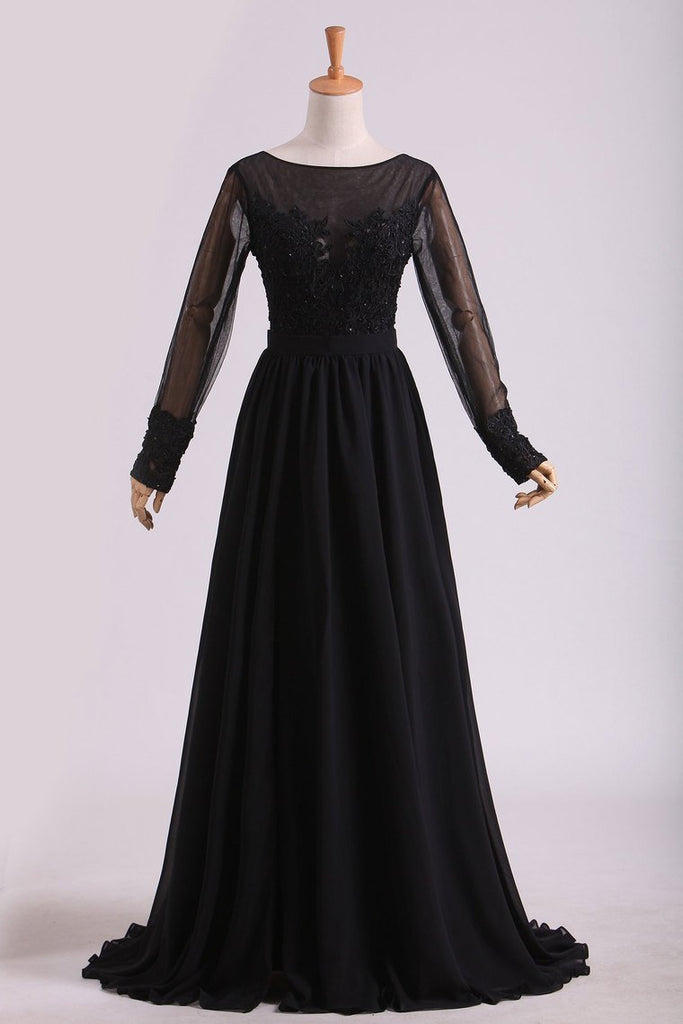 2019 Black Evening Dresses Long Sleeves A Line Chiffon With Applique & Slit