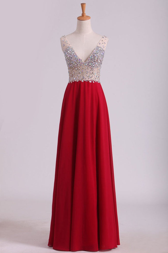 2019 A Line V Neck Prom Dresses Chiffon With Beads And Slit Sweep Train
