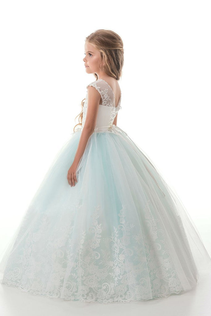 2019 Tulle Scoop With Applique And Sash Ball Gown Flower Girl