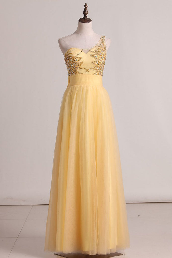 2019 A Line One Shoulder Prom Dress Beaded Bodice Tulle Floor Length