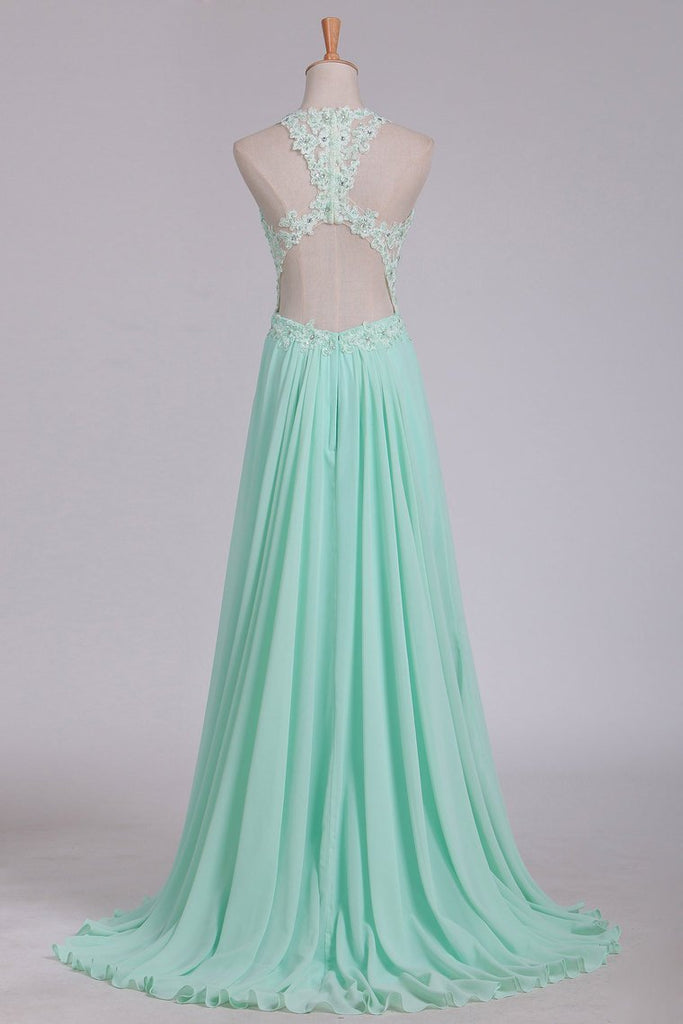 2019 See-Through Scoop A Line Chiffon Prom Dresses With Applique Floor