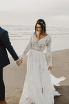 Charming A Line Long Sleeves V Neck Lace Ivory Beach Wedding Dresses Bridal STC15623