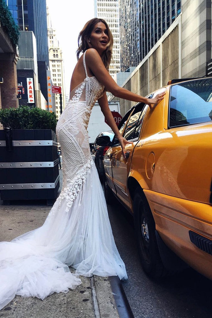 2021 Wedding Dresses Mermaid Spaghetti Straps Tulle With Applique Open