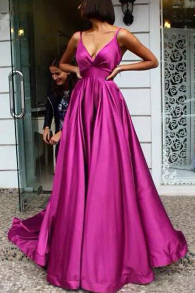 Simple A Line Spaghetti Straps V Neck Satin Backless Prom Dresses Party STC15671