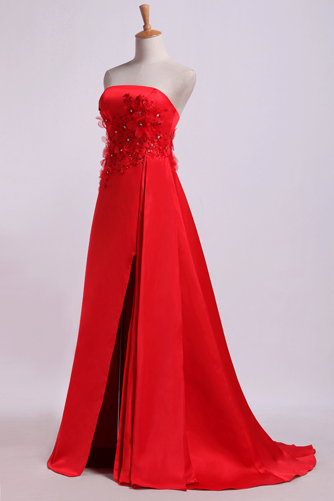 2019 Strapless Prom Dresses Column Sweep Train With