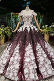 Ball Gown Off the Shoulder V Neck Satin Prom Dresses with Hand Made Flowers, Quinceanera Dress STC15064