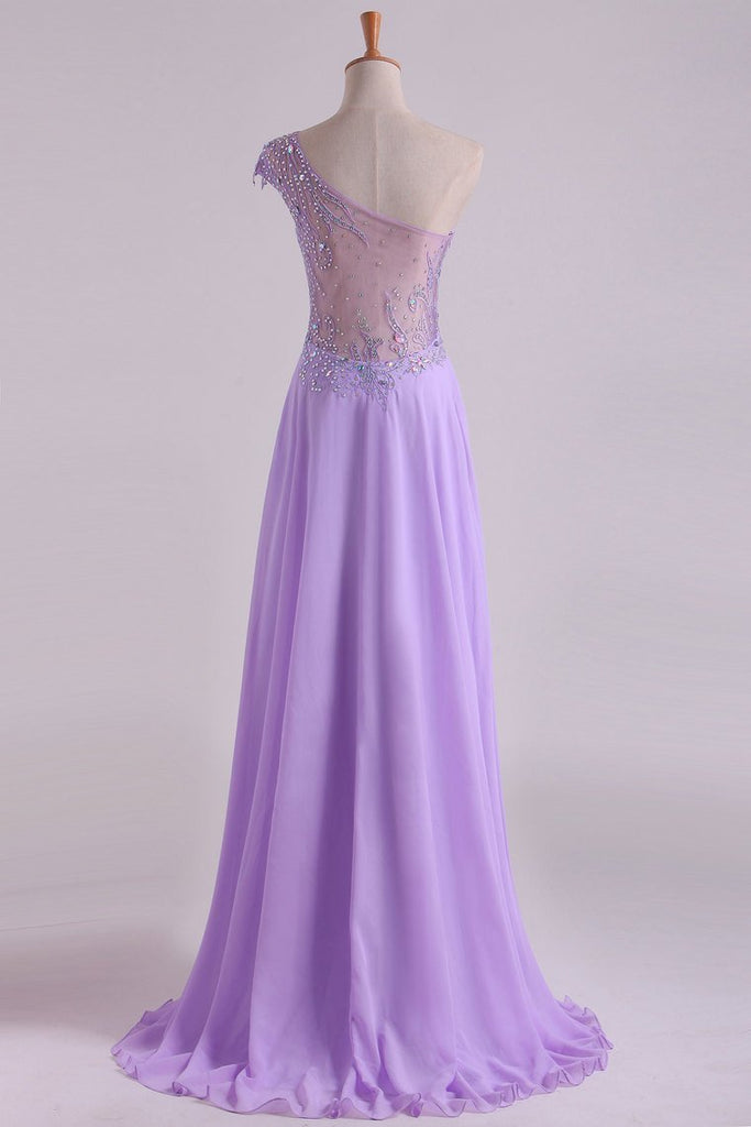 2019 One Shoulder A Line Prom Dress Beaded Tulle And Chiffon Sweep Train