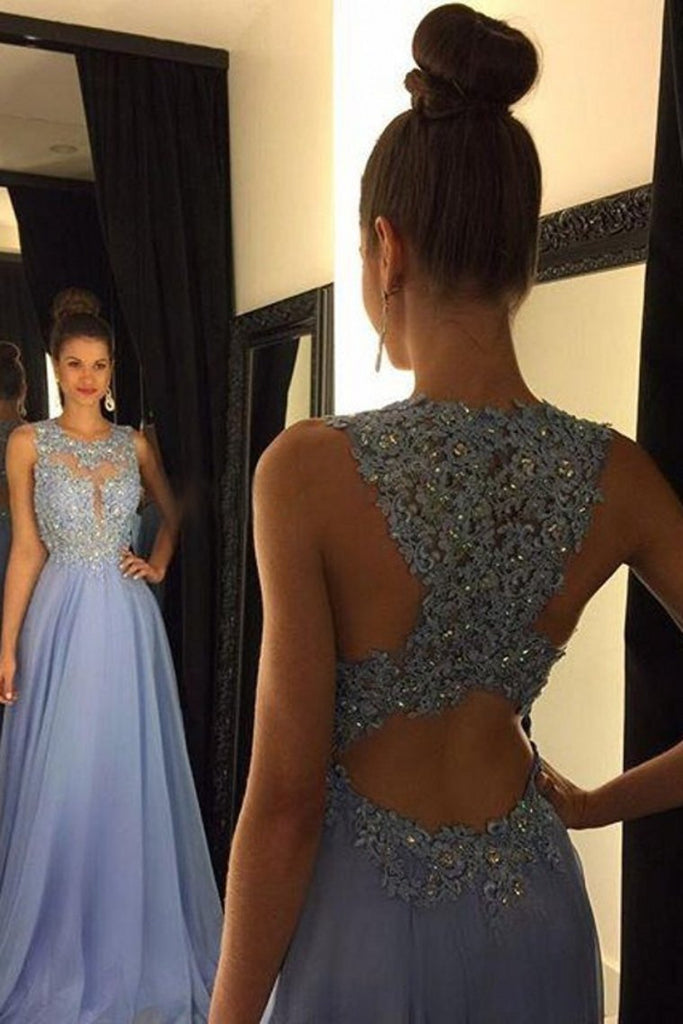 2021 Scoop Prom Dresses A Line Chiffon With Applique And Beads Sweep