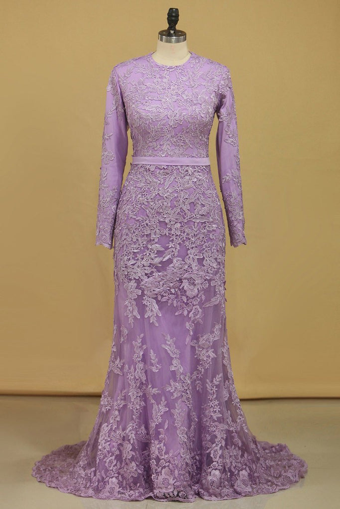 Muslim Prom Dresses Mermaid Scoop Long Sleeves With Applique And Sash