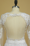 Hot Wedding Dresses Scoop Long Sleeves With Applique & Sash Tulle
