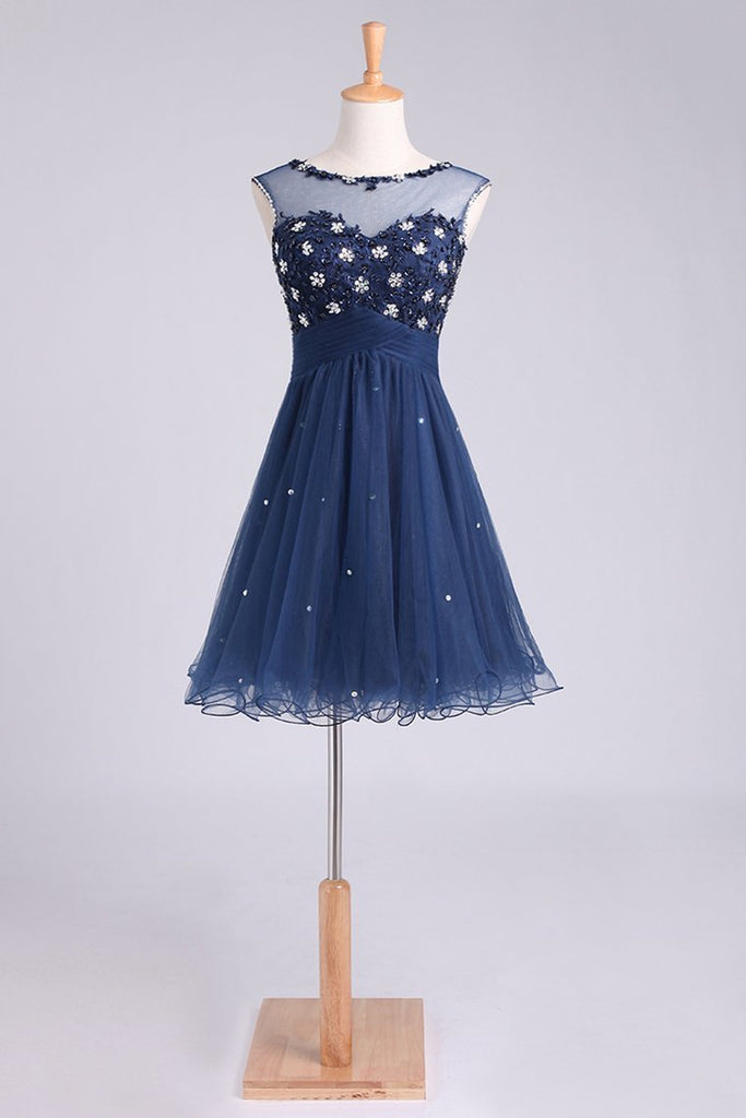 Homecoming Dresses A Line Scoop Short/Mini With Beading&Sequins