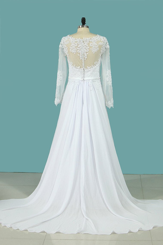 2019 Wedding Dresses A Line Scoop Long Sleeves Chiffon With