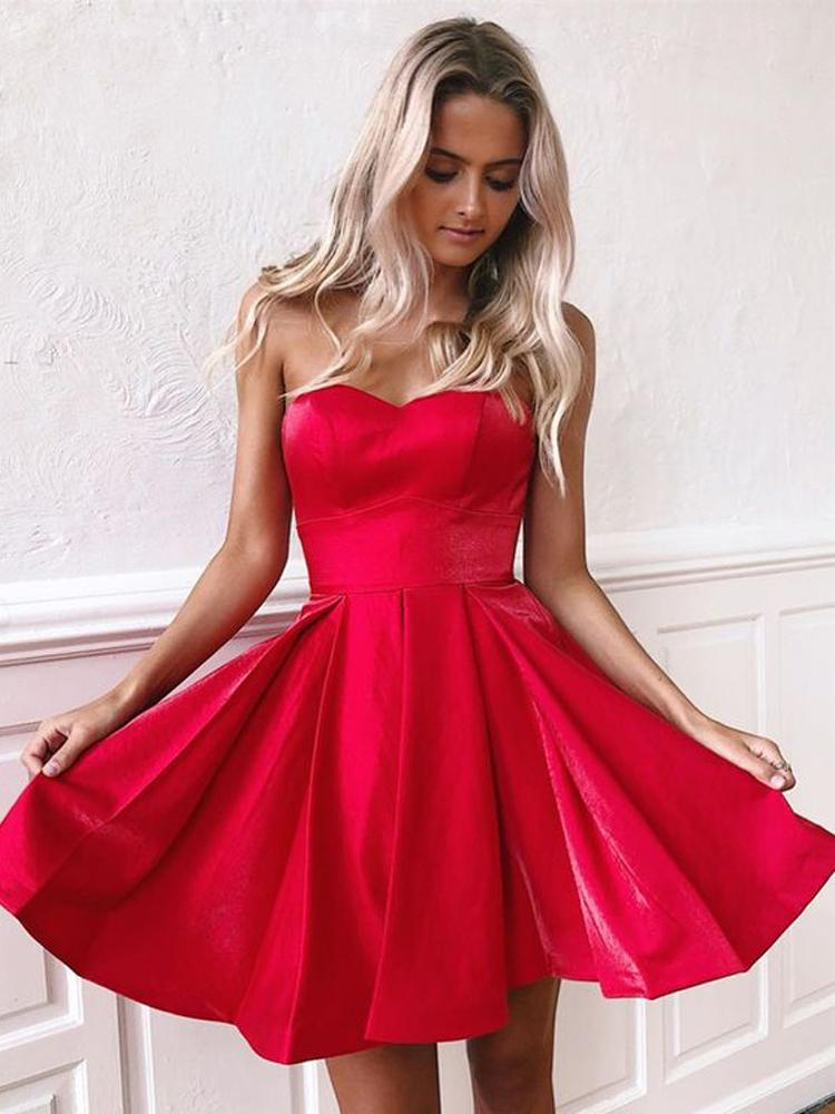 Simple Red Satin Sweetheart Strapless Homecoming Dresses Above Knee Short Prom Dresses STC14982