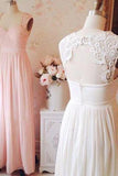 Elegant Square Sleeveless Long Pink Homecoming Dress with Lace Open Back Ruched