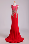 2019 Red Prom Dresses Scoop Mermaid Sweep Spandex With Applique