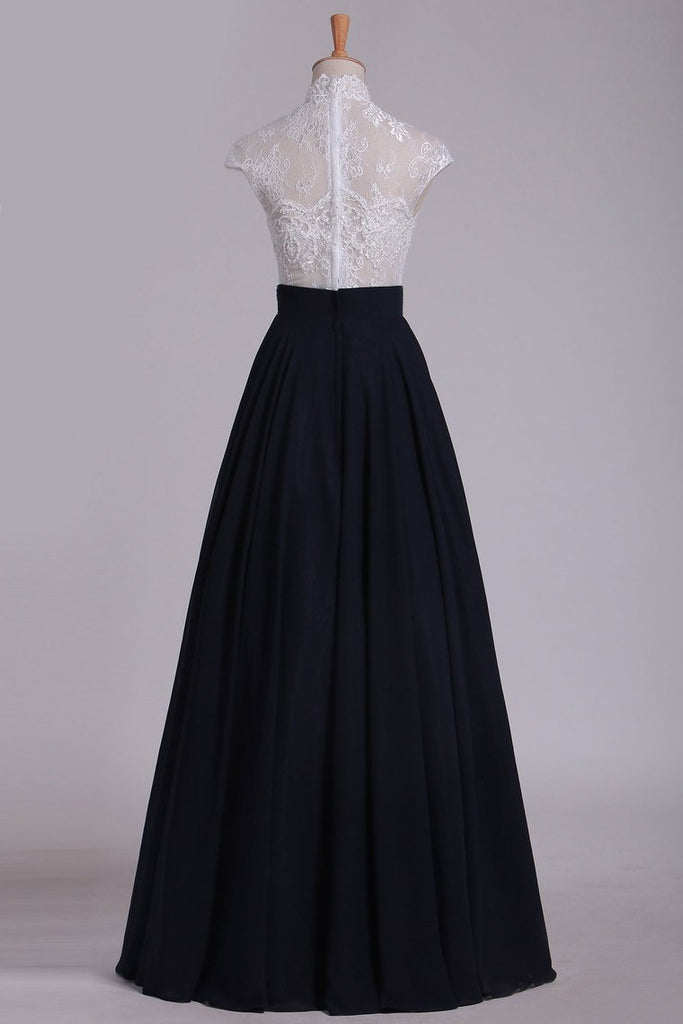 Prom Dresses High Neck Chiffon With Applique A Line Floor Length