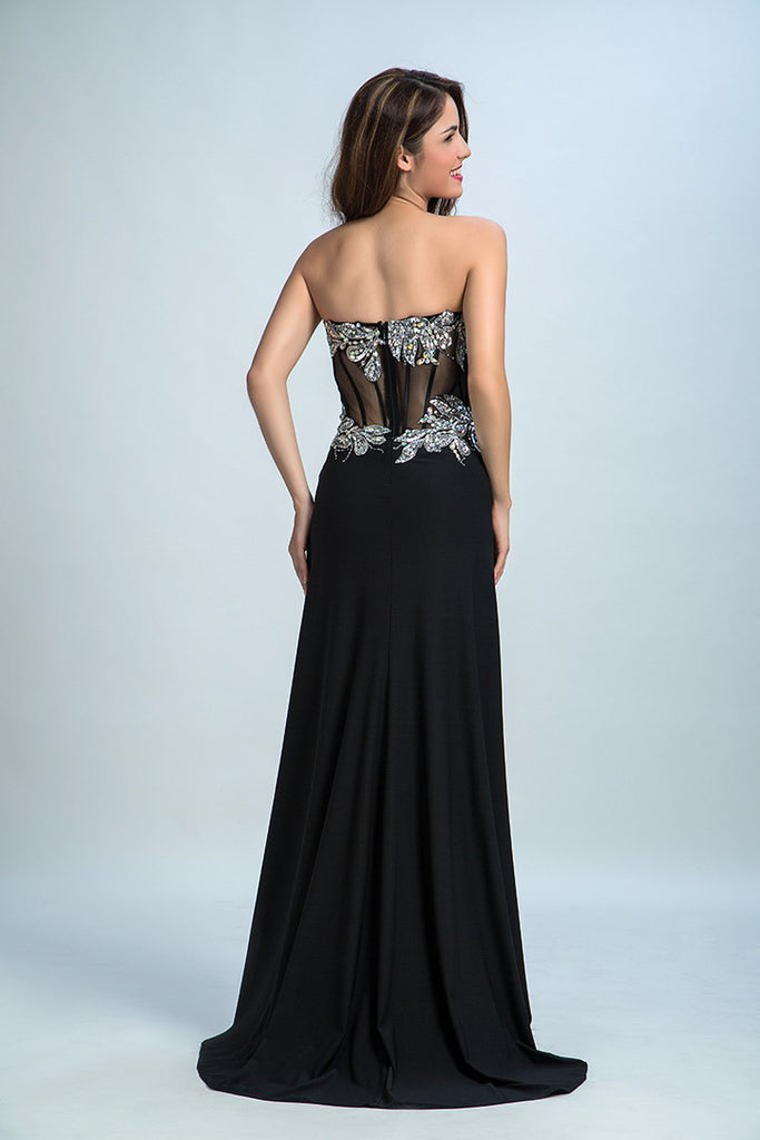 2019 Black Prom Dresses Mermaid/Trumpet Black Sweetheart Chiffon With Rhinestone