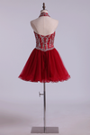 Halter A-Line Homecoming Dresses Burgundy/Maroon With Beads Tulle Short/Mini