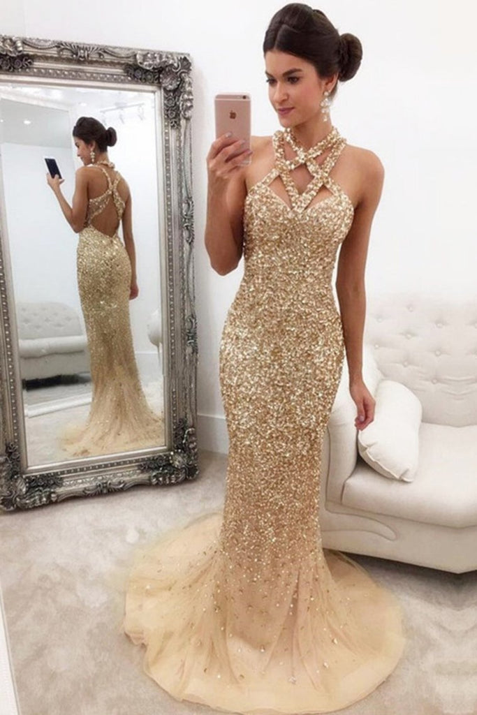 2019 Straps Prom Dresses Tulle With Beading Mermaid