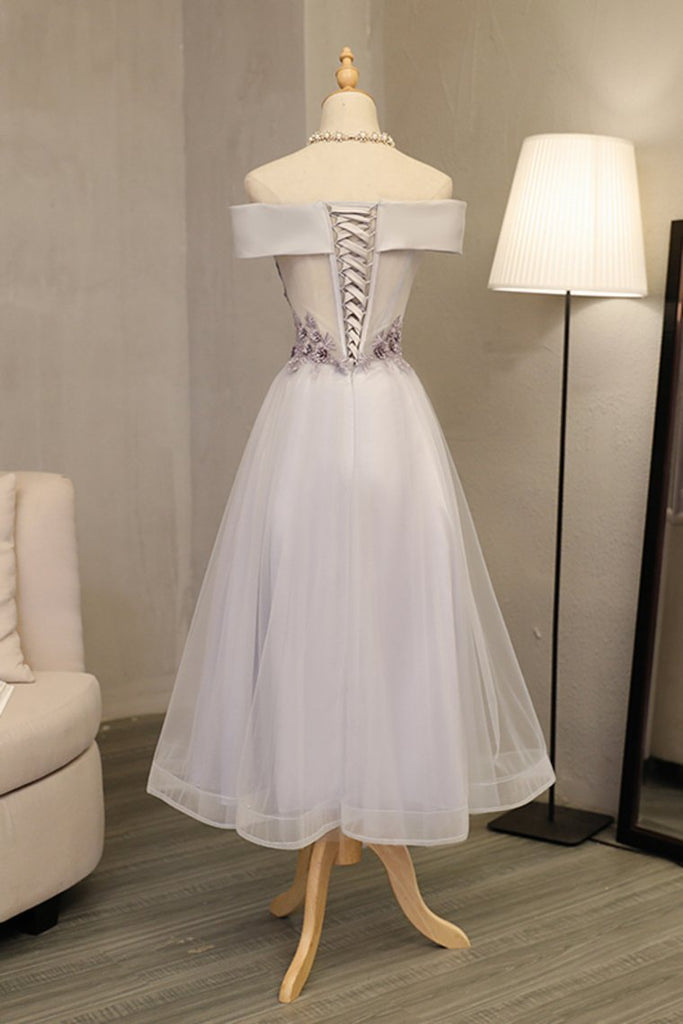 2021 Prom Dresses A Line Boat Neck Tulle With Applique And Handmade