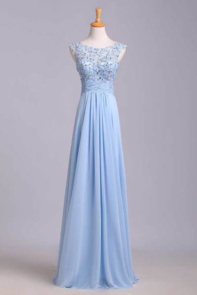 2019 New Arrival Bateau Neckline Embellished Tulle Bodice With Beaded Applique Chiffon