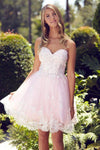 G2048 Feminine Lace Accented Sweetheart Appliques Strapless Tea Length Homecoming