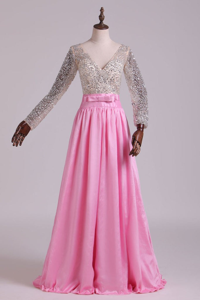 2021 Prom Dresses V Neck Long Sleeves A Line With Beading Taffeta