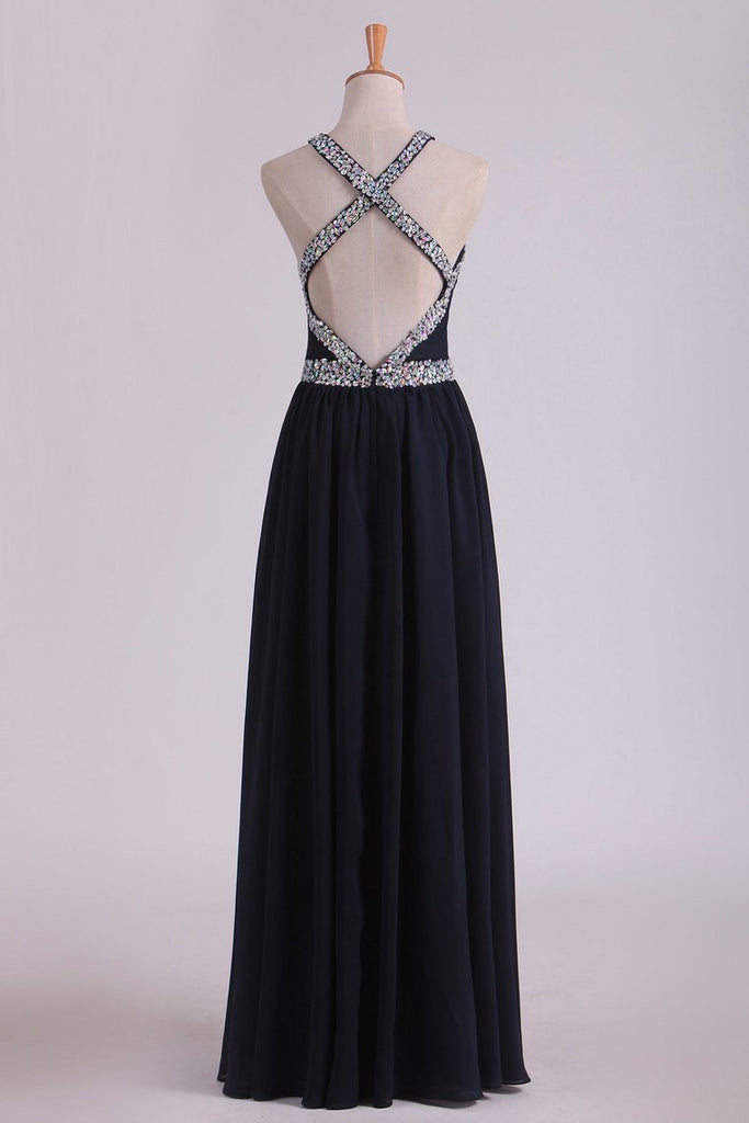 2019 Sexy Open Back A Line Prom Dresses Chiffon With Beads And