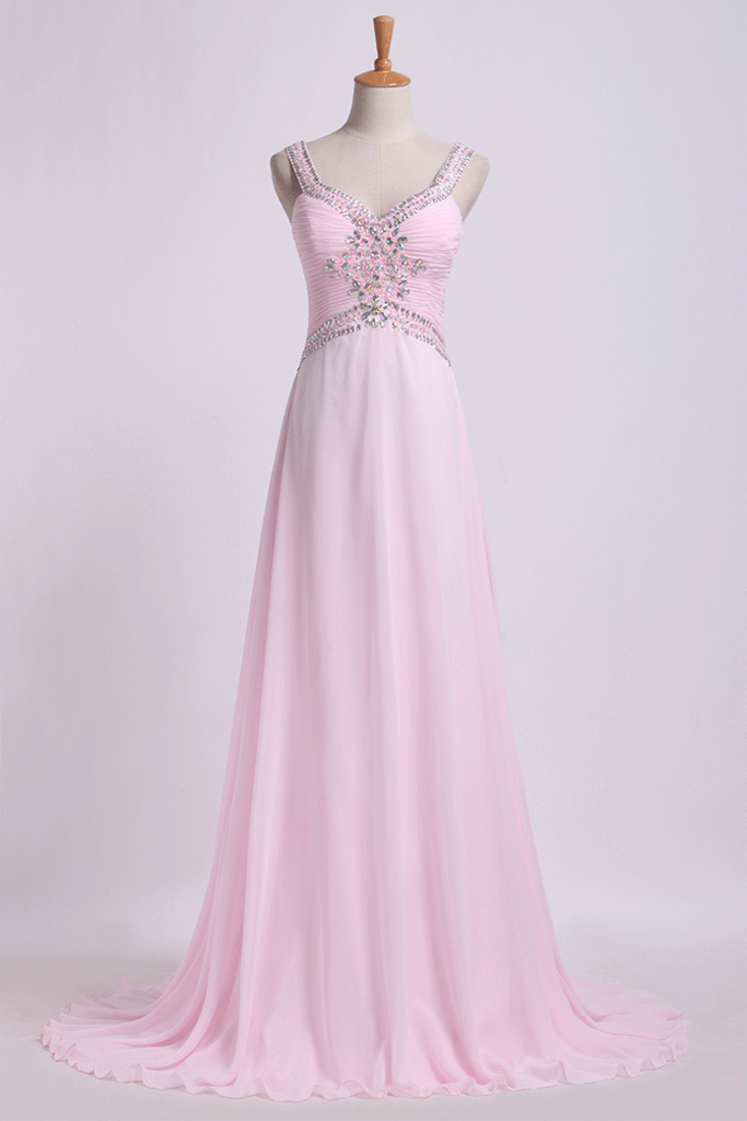 2019 Open Back Prom Dresses Halter A Line Sweep Train Chiffon With Beads&Ruffles