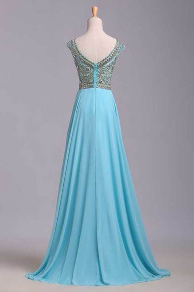 2019 Elegant Prom Dresses A-Line Scoop Beaded Bodice Floor-Length Chiffon Zipper Back