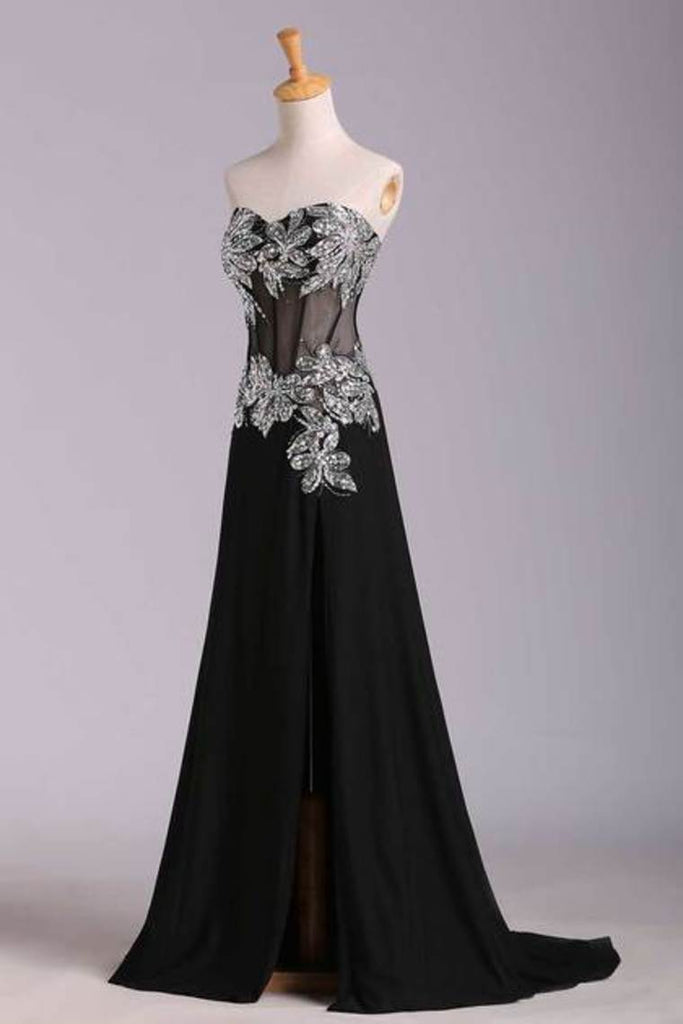 Prom Dresses Mermaid/Trumpet Black Sweetheart Chiffon With Rhinestone
