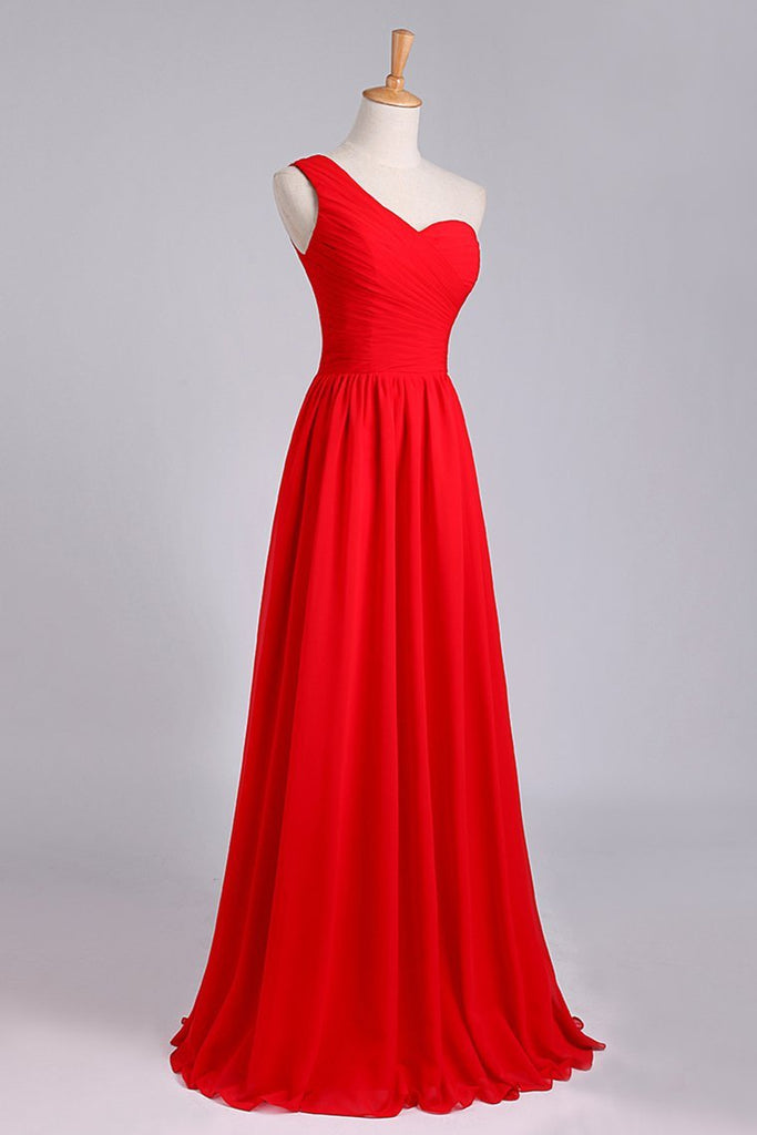 2019 One Shoulder Pleated Bodice Lace Back A Line Prom/Evening Dress Chiffon