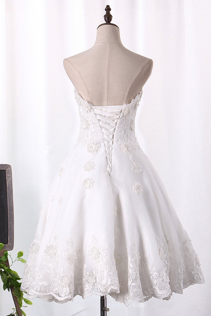 2019 A Line Organza Wedding Dresses Sweetheart With Handmade