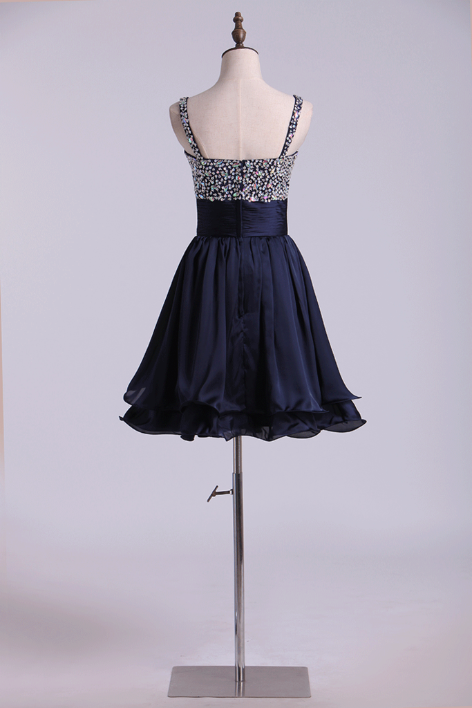 Straps A Line Mini Prom Dress Beaded Bodice With Pleated Waistband