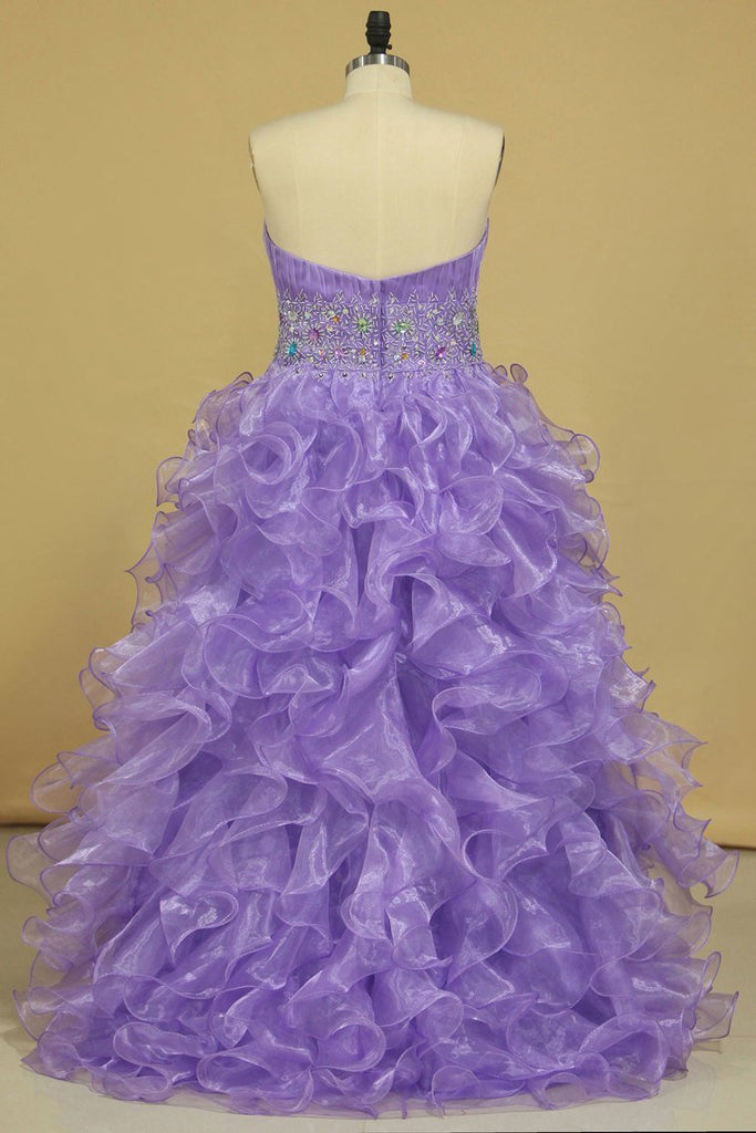 2019 Asymmetrical Prom Dresses Sweetheart Organza With Beads And Ruffles A Line