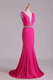 2019 Prom Dresses Open Back Column V Neck Beaded Waistline Sweep Train