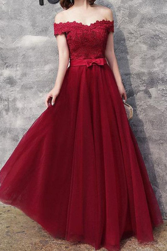 2019 Prom Dresses A Line Off The Shoulder Tulle With Applique And