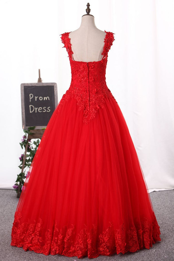 2019 Off-The-Shoulder Prom Dresses Ball Gown Tulle With Applique Zipper