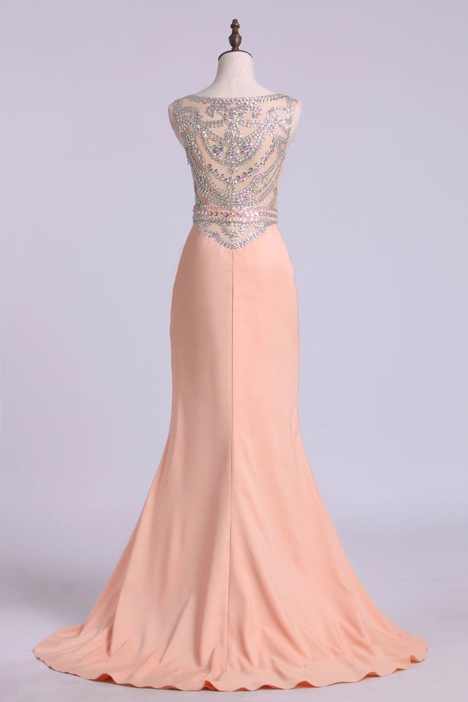 2019 Prom Dresses Scoop Column Sweep Train Elastic Satin With Beads