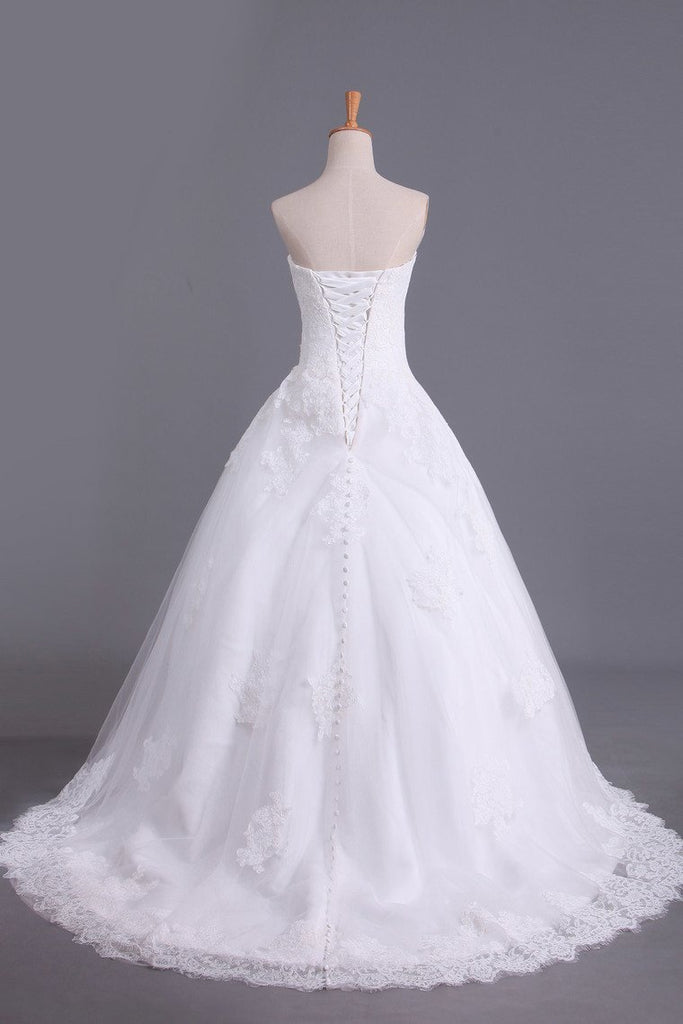 2021 Hot Wedding Dresses A Line Strapless Tulle With Applique Court Train