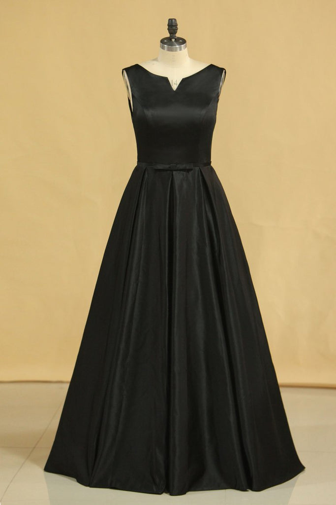 2019 Evening Dress Concise A-Line Floor Length Lace-Up Satin Black Plus Size