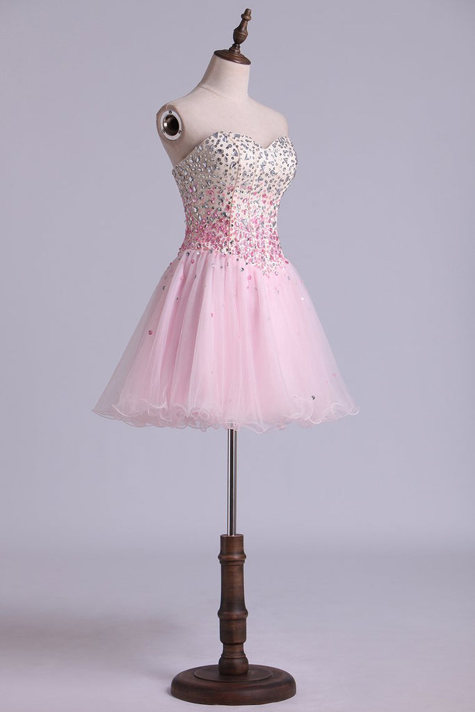 Sweetheart A Line Short/Mini Prom Dress With Full Beaded Bodice