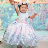 Princess Ball Gown Round Neck Pink Beads Flower Girl Dresses with Appliques STC15587