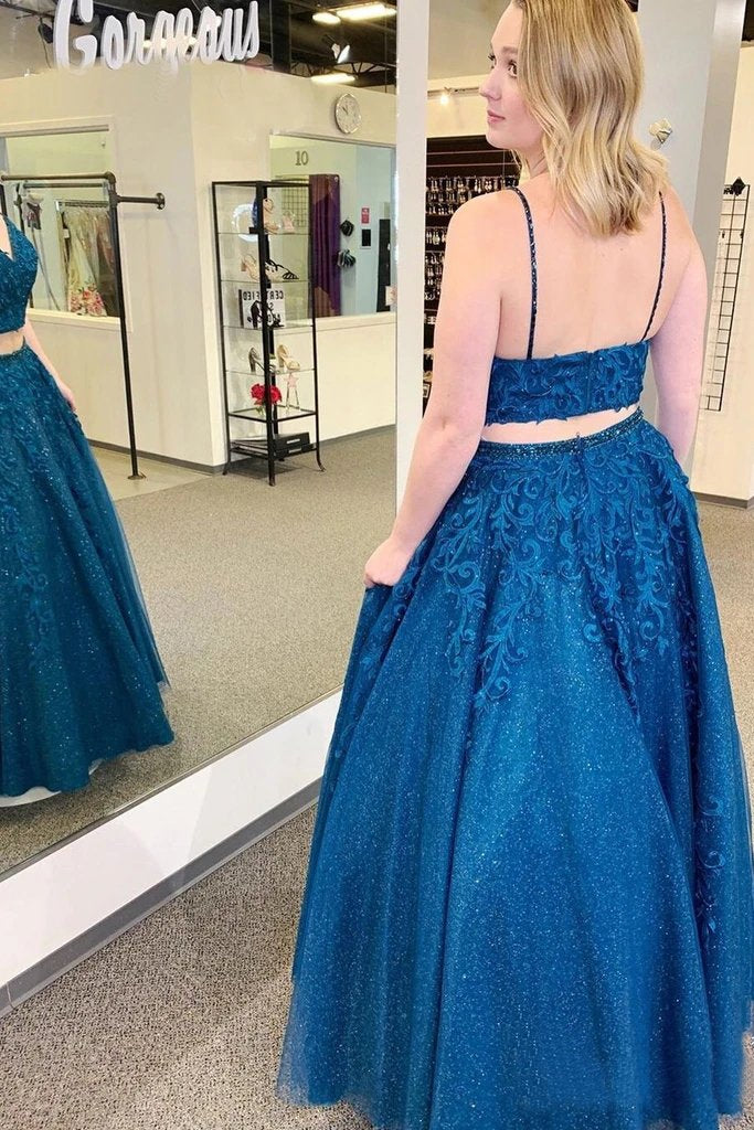 Sparkly Two Pieces Mykonos Blue Appliques Spaghetti Straps Prom STC20446