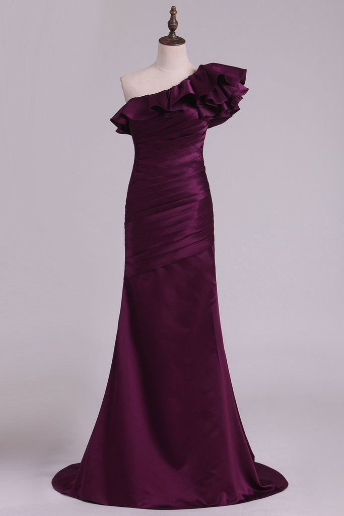 One Shoulder Satin With Ruffles Prom Dresses Sweep Train