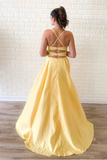 Simple Sleeveless Split Long Prom Dresses Cheap Sweep Train Evening STCP596T9CJ
