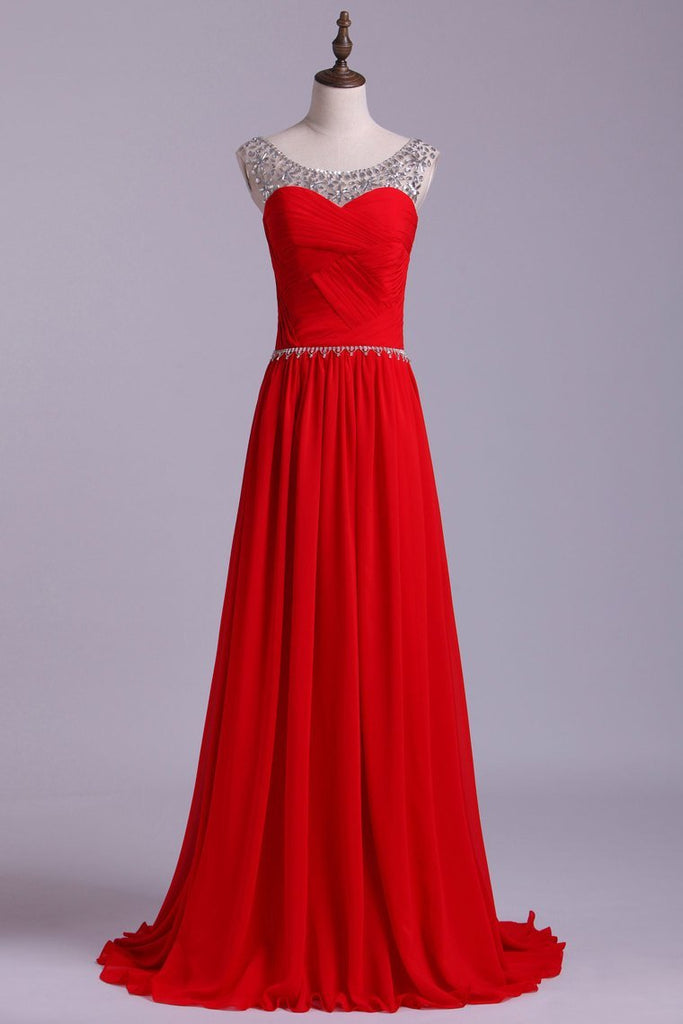 2019 Scoop Prom Dresses A Line Chiffon With Beads And