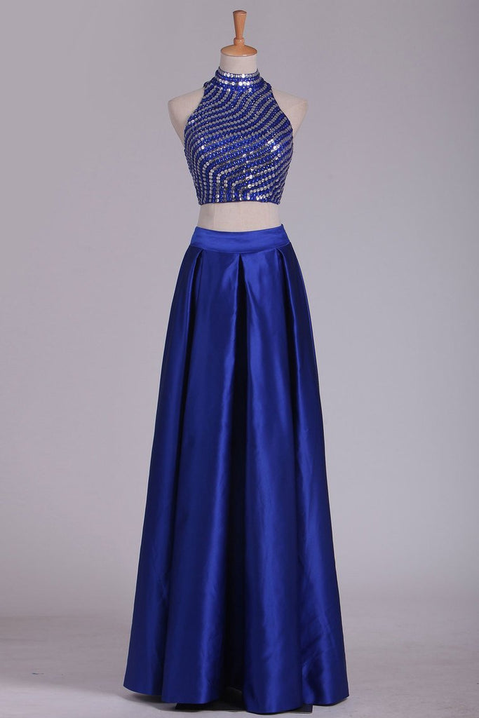 Two Pieces Prom Dresses High Neck Satin With Rhinestones And