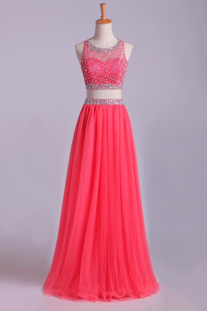 2019 Two-Piece Bateau Beaded Bodice Princess Prom Dress Pick Up Tulle Skirt Floor